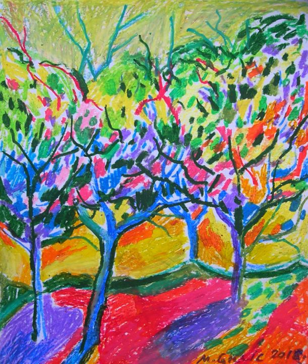 Colour infusion No 7 - Drawing,  25x21x0.05 cm ©2018 by Maja Grecic -                                                        Abstract Expressionism, Landscape, Tree, art, drawing, abstract, colourful, red, trees, landscape
