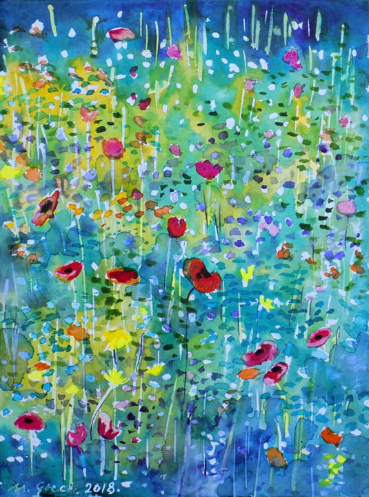 Dreaming of meadows - Painting,  32x24x0.1 cm ©2018 by Maja Grecic -                                                                                Contemporary painting, Impressionism, Flower, Landscape, Nature, art, painting, meadow, flower, flowers, poppy, wild flowers, blue, purple, red, green