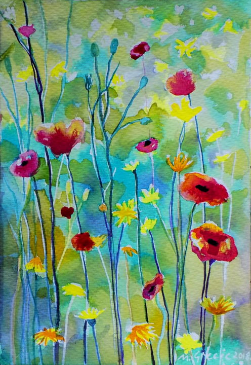 Poppy meadow on a sunny day - Painting,  26x18x0.1 cm ©2018 by Maja Grecic -                                                                                                        Contemporary painting, Impressionism, Botanic, Flower, Garden, Landscape, Nature, art, painting, watercolor, watercolour, nature, flowers, poppy, poppies, meadow, red, yellow