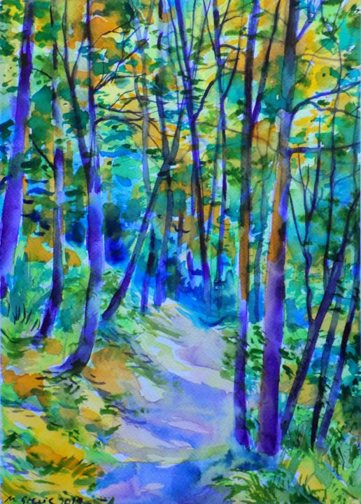 Forest path IX - © 2019 art, forest, painting, path, watercolor, watercolour, impressionism, contemporary, original Online Artworks
