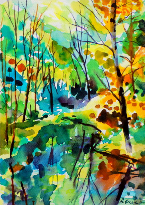 Reflections IX - Painting,  34x25x0.1 cm ©2019 by Maja Grecic -                                                                                            Abstract Expressionism, Expressionism, Impressionism, Landscape, Tree, Water, art, watercolor, painting, tree, trees, forest, water, reflection, expressive, colorful, nature