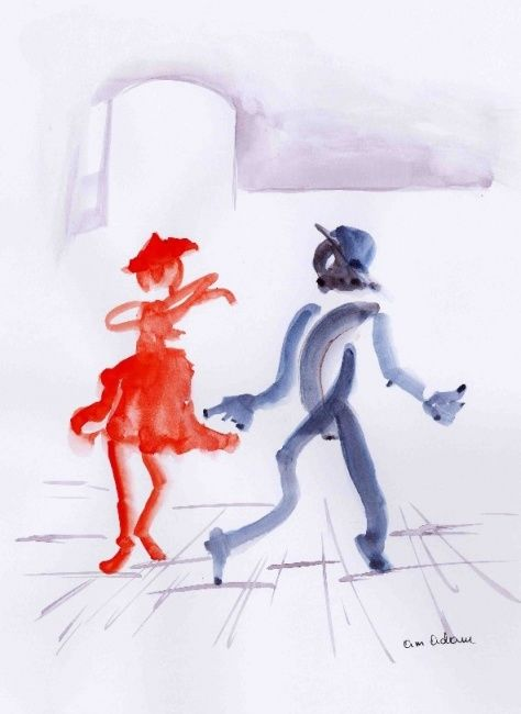 dancing - Drawing, ©2007 by Anne Marie Mazzocchi -