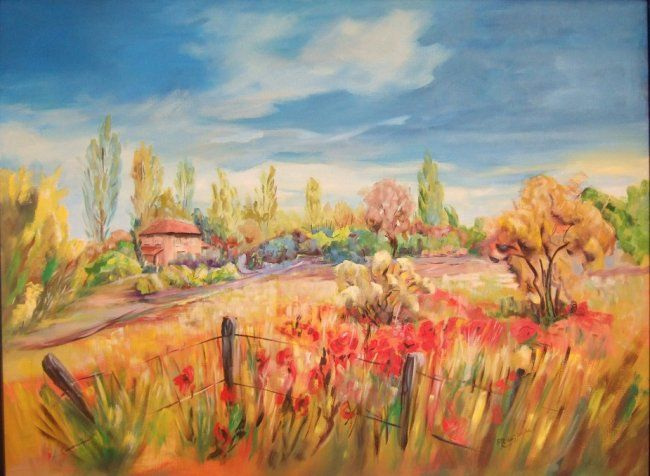 c_Plaine_de_Rouges - Painting,  81x6 cm ©2010 by Anne Marie Mazzocchi -                            Figurative Art, paysage d'herbes sauvages