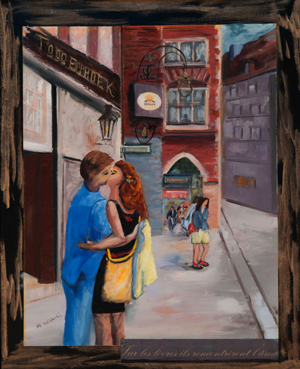 munster-todden-hoeck-le-baiser1site-l1002310.jpg - Painting,  16.1x13 in, ©2014 by Anne Marie Mazzocchi -                                                                                                                                                                                                      Love / Romance, Munster TODDEN HOECK, le baiser1, http://am-mazzocchi.com