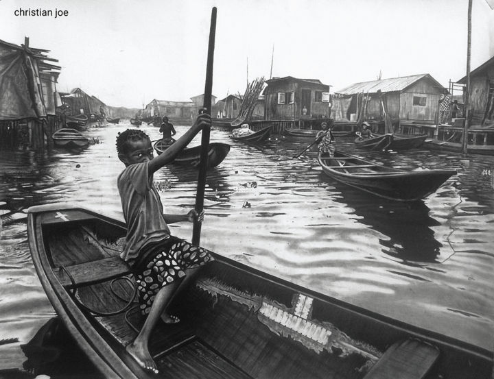"""Drawing titled """"Venice of Africa"""" by Christian Mba, Original Art, Charcoal"""