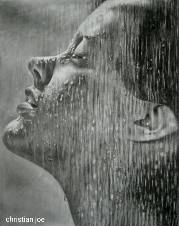 """Drawing titled """"Sensations"""" by Christian Mba, Original Art, Graphite"""