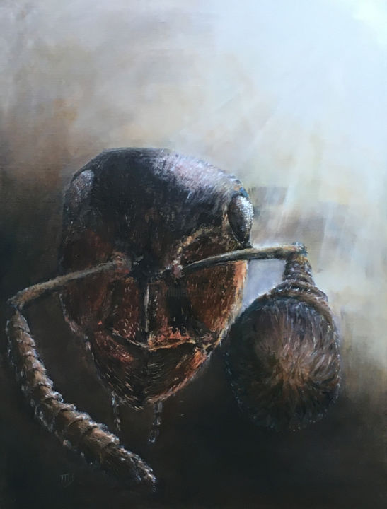 """Painting titled """"Questionning Ant"""" by Magali Gauthier (M B), Original Art, Oil"""