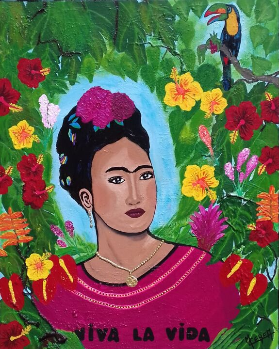 FRIDA - Painting,  39.4x31.5x1 in, ©2017 by Mcerea -                                                                                                                                                                                                                                                                                                                                                                                                                                                      Figurative, figurative-594, Women, Portraits, femme, portrait, frida, kahlo, fleurs exotiques