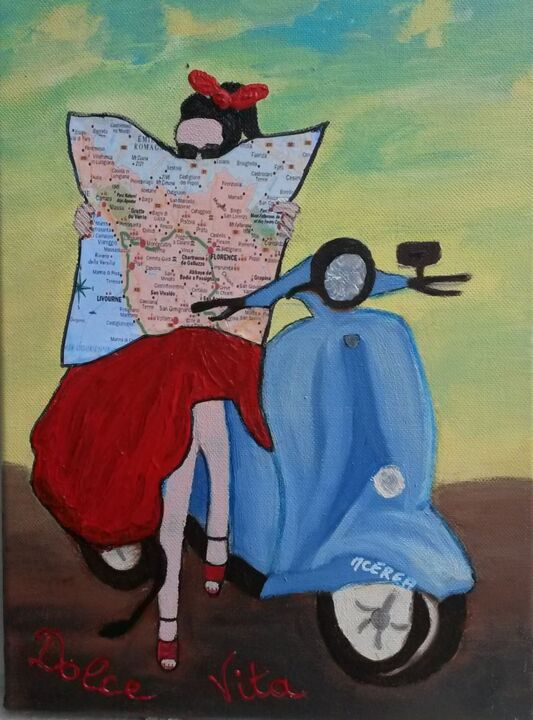 dolce-vitae - Painting,  10.6x8.7x0.8 in, ©2014 by MCerea -                                                                                                                                                                                                                                                                                                                                                                                                                                                      Figurative, figurative-594, Women, People, femme, vespa, scooter, dolce vitae, italienne