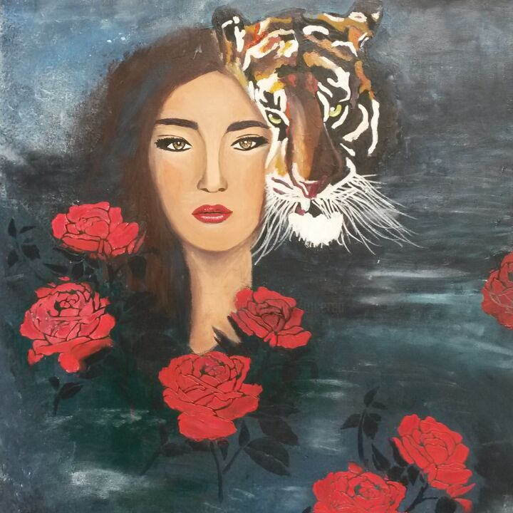 EVE - Painting,  31.9x23.6x0.8 in, ©2017 by Mcerea -                                                                                                                                                                                                                                                                                                                                                                                                                                                                                                                                                                                                                                                                                                                                                                              Figurative, figurative-594, Other, Canvas, Animals, Women, Flower, People, Portraits, femme, ,  tigresses, tigre, portrait, rose rouge, art figuratif