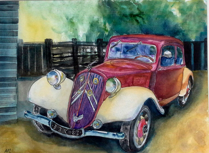 vintage red car (Watercolour 2015/2016/2017 cars)