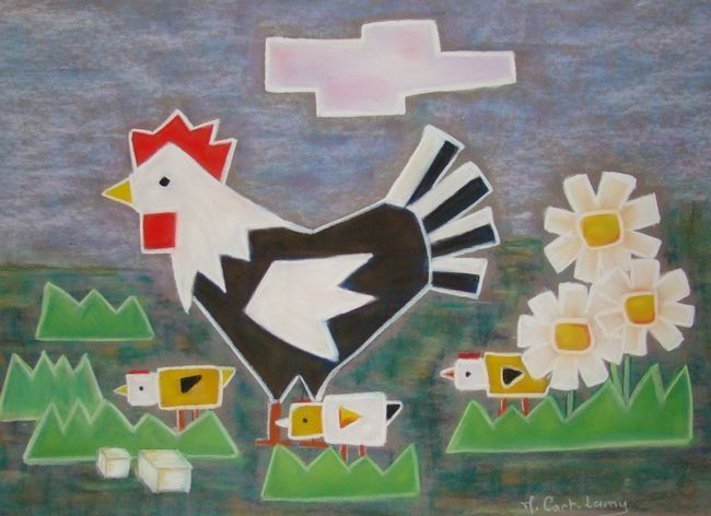 poule! - Painting,  30x40 cm ©2012 by Martine Cart-Lamy -