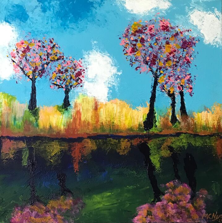 """Painting titled """"REFLECTING TREES"""" by Mitch Nye, Original Art, Acrylic"""