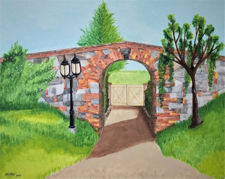 """Painting titled """"STONE ARCH"""" by Mitch Nye, Original Art, Watercolor Mounted on Other rigid panel"""