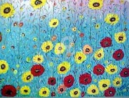 Champs de fleurs - Painting,  60x80 cm ©2002 by Mdaniel -                        Abstract Art