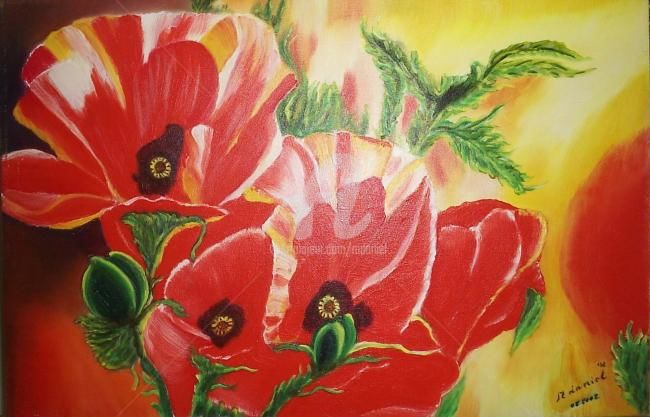 Coquelicots - Painting,  15.8x23.6 in, ©2002 by Mdaniel -                                                                                                                          Abstract, abstract-570