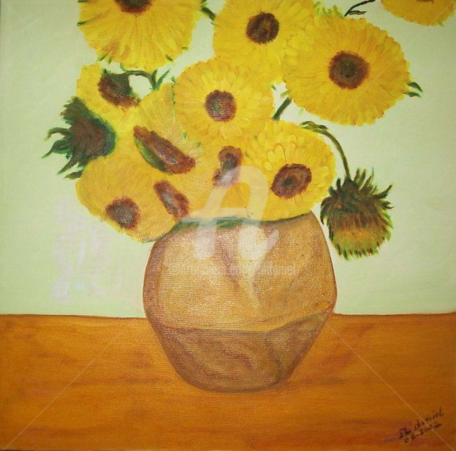 Tournesol - Painting,  40x40 cm ©2002 by Mdaniel -                        Abstract Art