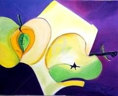 Pomme Verte - Painting,  15.8x19.7 in, ©2002 by Mdaniel -                                                                                                                          Cubism, cubism-582
