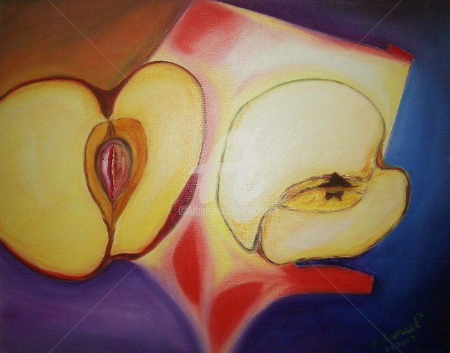 Pomme Rouge - Painting,  15.8x19.7 in, ©2003 by Mdaniel -                                                                                                                          Cubism, cubism-582