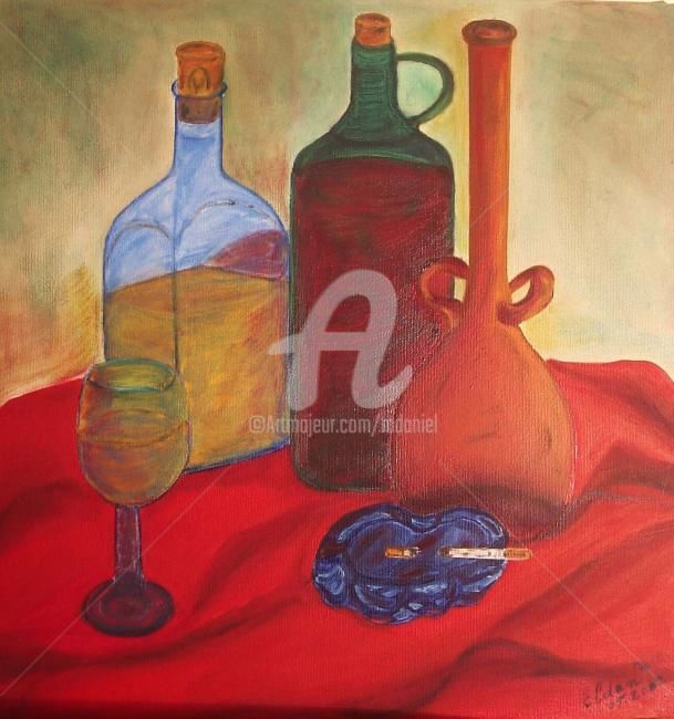 Whisky - Painting,  15.8x15.8 in, ©2002 by Mdaniel -                                                                                                                          Cubism, cubism-582