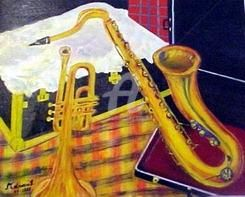 Saxophone - Painting,  15.8x19.7 in, ©1998 by Mdaniel -                                                                                                                          Cubism, cubism-582