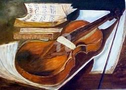 GUITARE - Painting,  19.7x27.6 in, ©2002 by Mdaniel -                                                                                                                          Cubism, cubism-582
