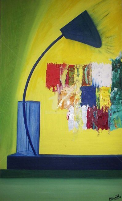 Lampe - Painting,  39.4x27.6 in, ©2002 by Mdaniel -                                                                                                                          Cubism, cubism-582