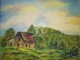 La Cabane - Painting,  7.1x8.7 in, ©2000 by Mdaniel -                                                                                                                          Expressionism, expressionism-591