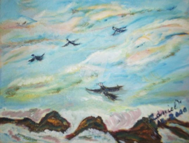 Les Mouettes - Painting,  18x22 cm ©2000 by Mdaniel -                        Expressionism