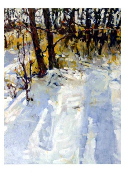 """Painting titled """"Early Snow"""" by Mike Dendy, Original Art, Oil"""