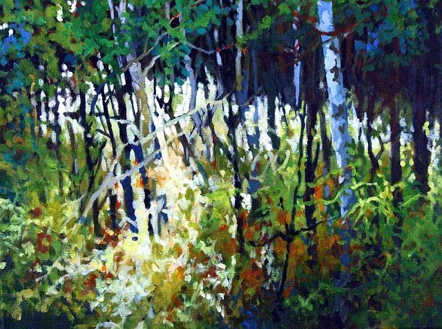 Riverlot 56 #1 - Painting,  16x20 cm ©2010 by Mike Dendy -                            Figurative Art, A splash of bright light caught on dense undergrowth