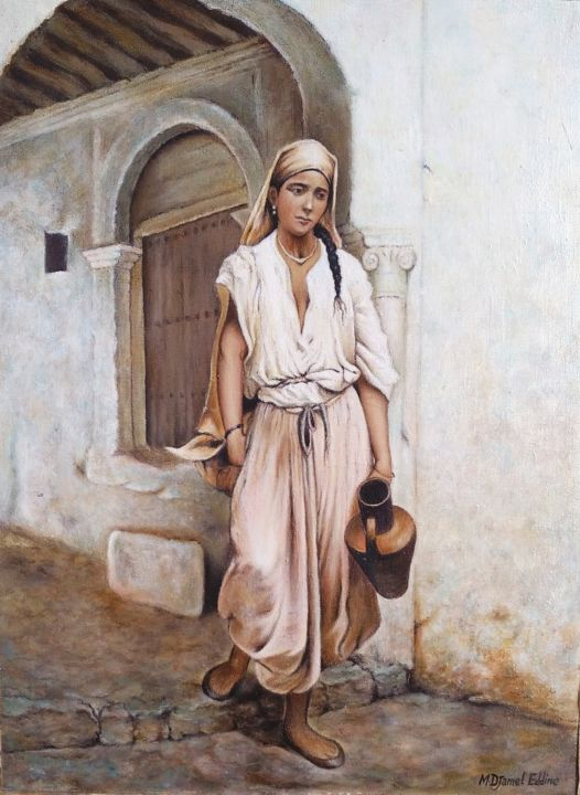 Algerian woman / امرأة جزائرية - Painting,  15.4x11.4 in, ©2019 by M Djamel Eddine -                                                                                                                                                                                                                                                                  Oriental Art, oriental-art-940, artwork_cat.Pop Culture / Celebrity, Women, History