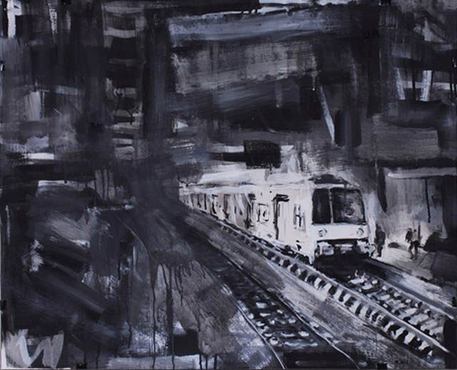 Station terminus 1 - Painting,  71x99 cm ©2011 by Mathieu Drié -