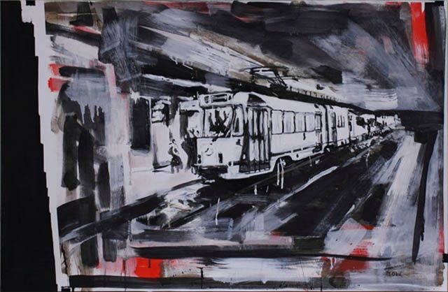 Station terminus 2 - Painting,  60x94 cm ©2011 by Mathieu Drié -