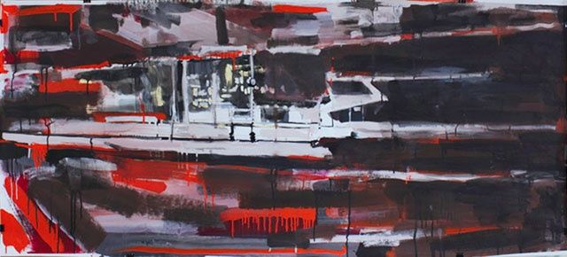 Station terminus 3 - Painting,  67x150 cm ©2011 by Mathieu Drié -