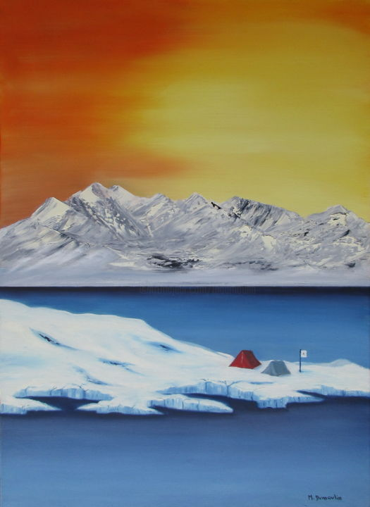 """ Camp de base "" - Painting,  50x70x4.5 cm ©2018 by Martial Dumoulin -                                                            Impressionism, Canvas, Mountainscape, Montagne, Lac, Camp, Ciel, Tente, Glacier, Neige"