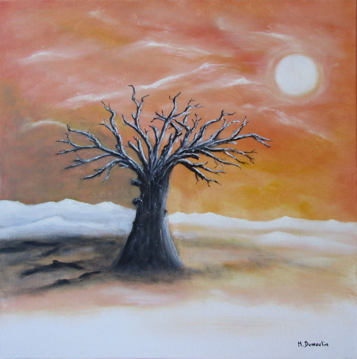 """ Persistance "" - Painting,  50x50x4.5 cm ©2018 by Martial Dumoulin -                                                                                    Symbolism, Cotton, Canvas, Nature, Landscape, Arbre, Ciel, Montagne, Soleil, toile, couleur orange, paysage"
