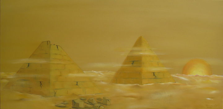 """ Tempête "" - Painting,  40x80x2 cm ©2011 by Martial Dumoulin -                                                                                                                                                            Impressionism, Environmental Art, Conceptual Art, Modernism, Canvas, Cotton, Classical mythology, Architecture, Performing Arts, Culture, World Culture, Pyramides, sable, vent, soleil, tempête, Egypte"