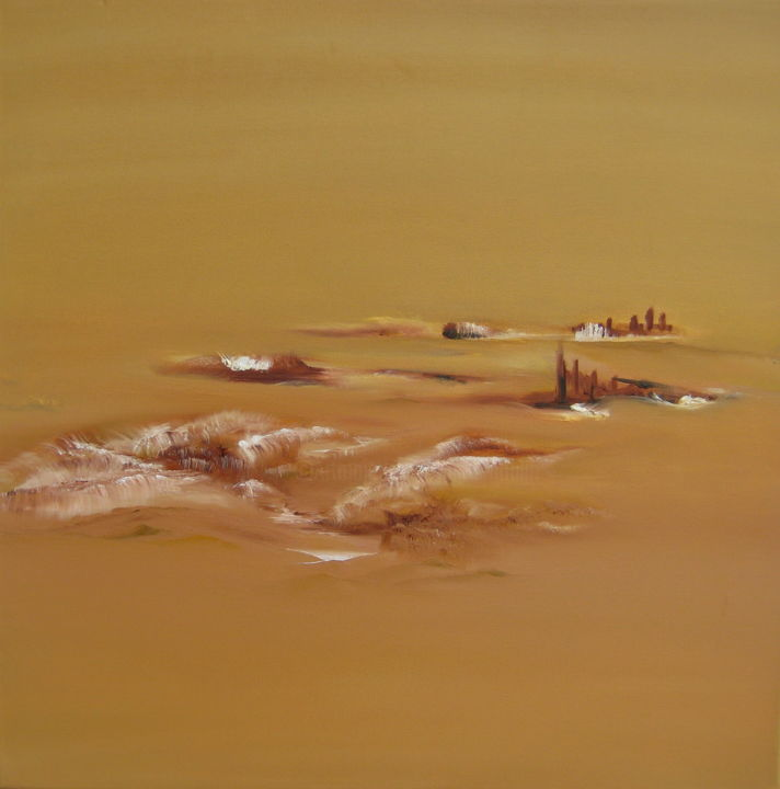 """"""" Discrétion """" - Painting,  23.6x23.6x1.8 in, ©2012 by Martial Dumoulin -                                                                                                                                                                                                                                                                                                                                                                                                                                                                                                                                                                                                                                                                                                                                                                          Abstract, abstract-570, Places, Abstract Art, Performing Arts, Nature, Landscape, tranquilité, nature, calme, ocre, abstrait, paysage, lieux, paisible, fantastique"""