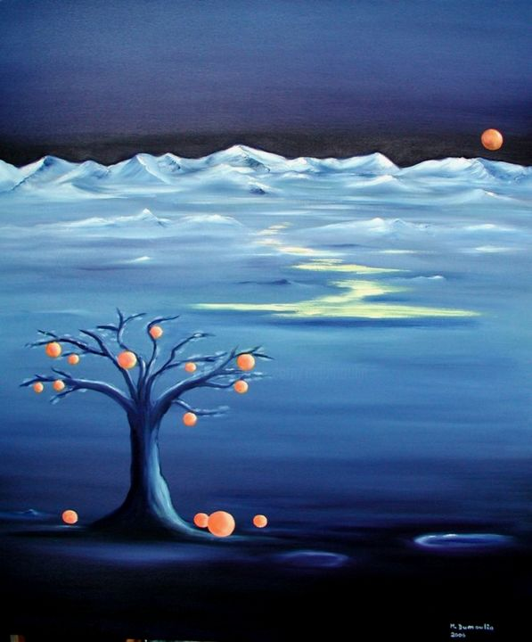 """Coïncidence "" - Painting,  27.6x23.6x0.1 in, ©2006 by Martial Dumoulin -                                                                                                                                                                                                                                                                                                                                                                                                                                                                                                                                                                                                                                                                                                                                                                                                                      Surrealism, surrealism-627, Tree, Water, Fantasy, Nature, Mountainscape, oranges, montagnes, bleu, arbre, eau, orangé, couleur, ruisseau, bleu nuit, lune"