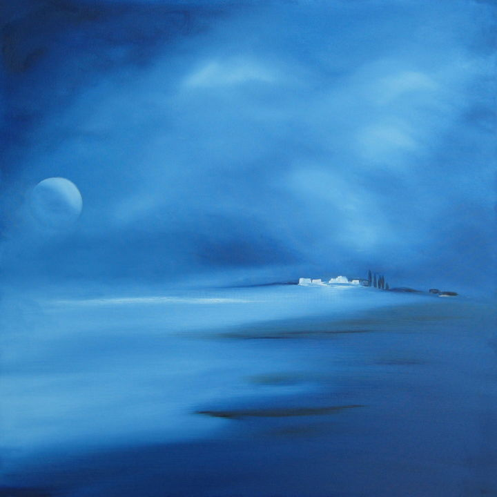 """ Signe de vie "" - Painting,  23.6x23.6x1.8 in, ©2012 by Martial Dumoulin -                                                                                                                                                                                                                                                                                                                                                                                                                                                                                                                                                                                                                                                                                                                                                                                                                                                                                                              Impressionism, impressionism-603, Colors, Water, Seascape, Beach, Fantasy, nuit, bleu, lune, mer, eau, clarté, nuages, Paysage marin, maison, habitant, signe de vie, population"