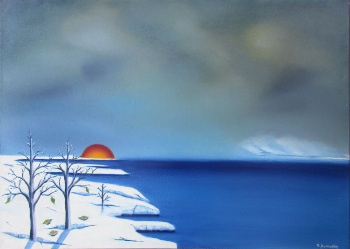""" Possible "" - Painting,  50x70x4.5 cm ©1 by Martial Dumoulin -                                                                        Impressionism, Surrealism, Canvas, Nature, mer, glace, arbre, soleil, couché de soleil, eau, possible"