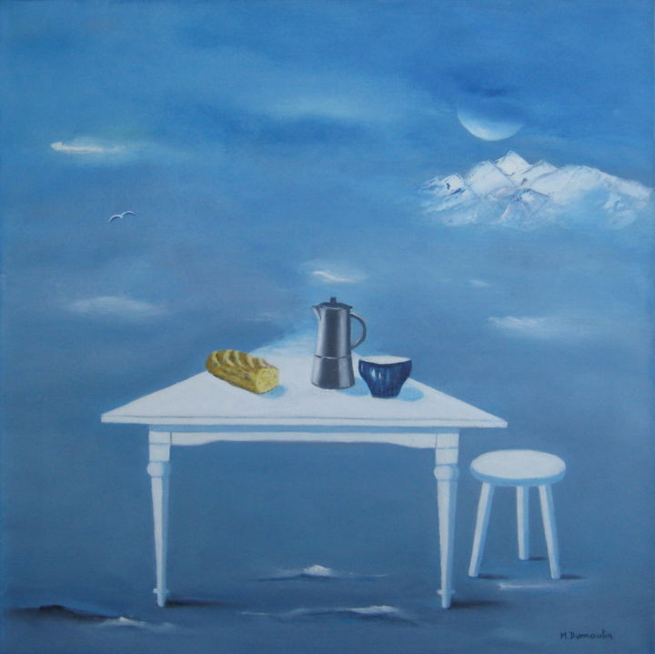 """ Dernier repas "" - Painting,  60x60x4.5 cm ©2015 by Martial Dumoulin -                                                                                                Symbolism, Canvas, Spirituality, Still life, Food & Drink, Travel, Montagne, neige, déjeuner, table, tabouret, bol, cafetière, lune, bleu, flou, repas"