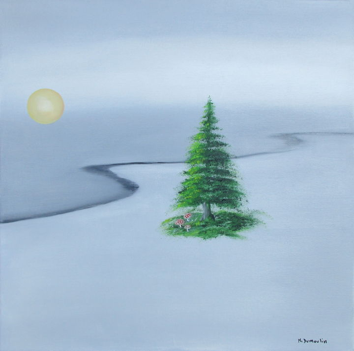 """ Survie "" - Painting,  50x50x4.5 cm ©2017 by Martial Dumoulin -                                                            Symbolism, Canvas, Nature, Mer, Sapin, isolé, plage, mdumoulin.com"