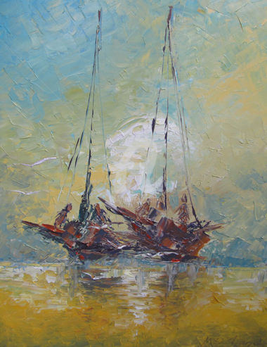 Voiliers 05 - Painting,  65x50 cm ©2016 by MedBerkane -                                                        Impressionism, Canvas, Ships