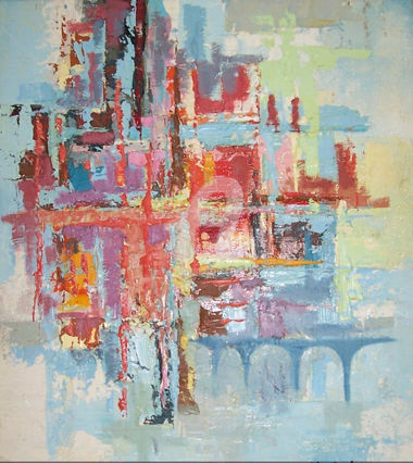 architecture- - Painting,  52x44x2 cm ©2016 by MedBerkane -                                                        Abstract Art, Canvas, Abstract Art