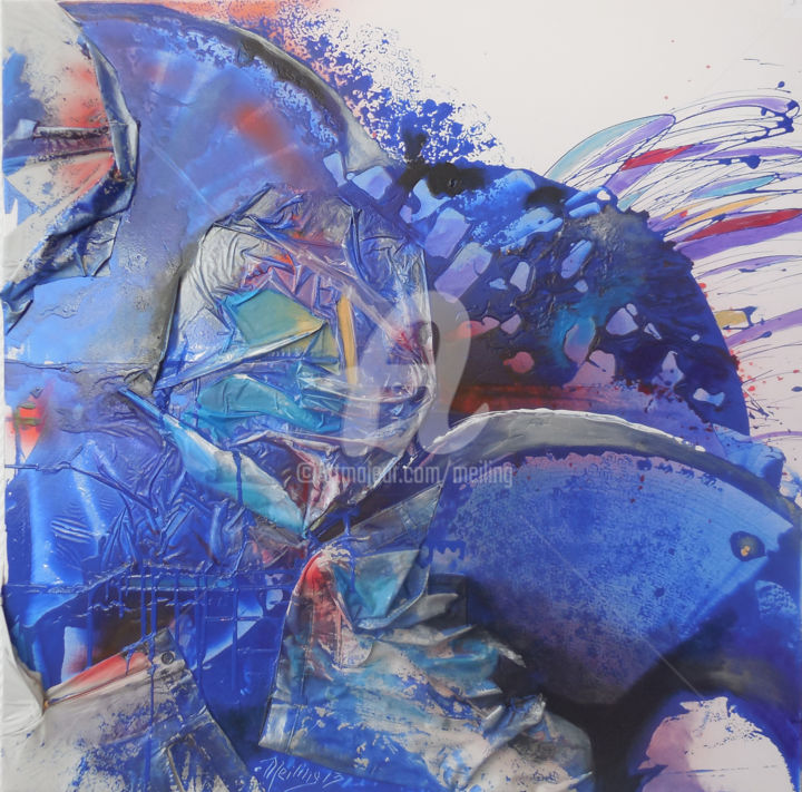 Clash bleu - Painting,  100x100 cm ©2013 by Meiling kergourlay -                                                        Abstract Art, Canvas, Abstract Art