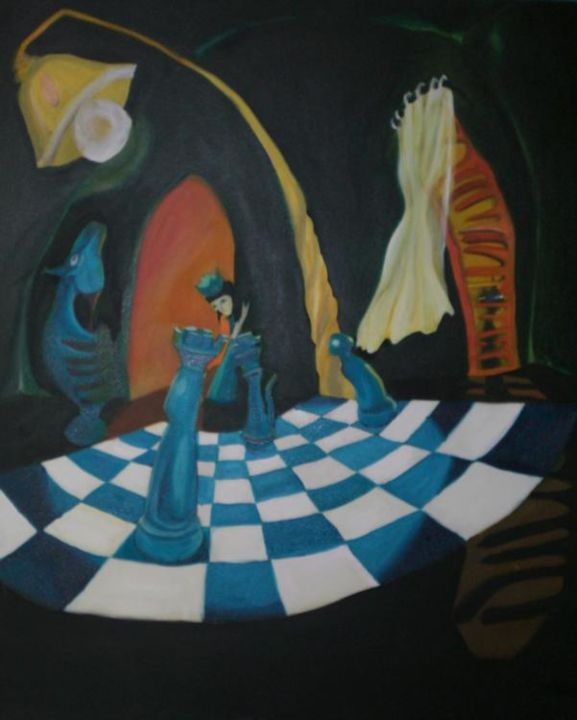 """Painting titled """"chess mates"""" by Mela, Original Art,"""