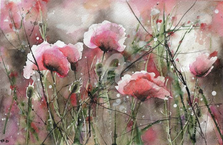 Pink Poppy Flowers - Painting,  17.5x27 cm ©2018 by Melanie Kempkes -                                                                            Flower, Botanic, Colors, Garden, Love / Romance, flowers, poppys, mohnblumen, kornblumen, pinkflowers, rosablumen, cornflower, wildblumen, wildflowers, watercolor, aquarell, artwork, love, sketch, malerei