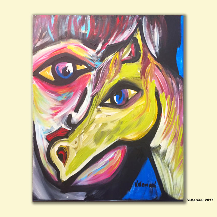 Il cavallo verde del cavaliere - Painting,  19.7x15.8x0.8 in, ©2017 by Mel Art -                                                                                                                                                                                                                                                                                                                                                                                                                                                                                                                                                                                                                                                                                                                                                                          Abstract, abstract-570, Horses, People, Portraits, Men, valentina mariani, arte, pavia, volto, uomo, cavallo, quadro, acrilico, ritratto, animali